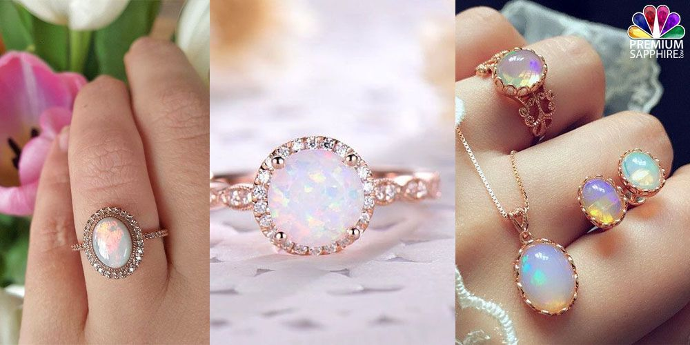 Opal stone engagement rings